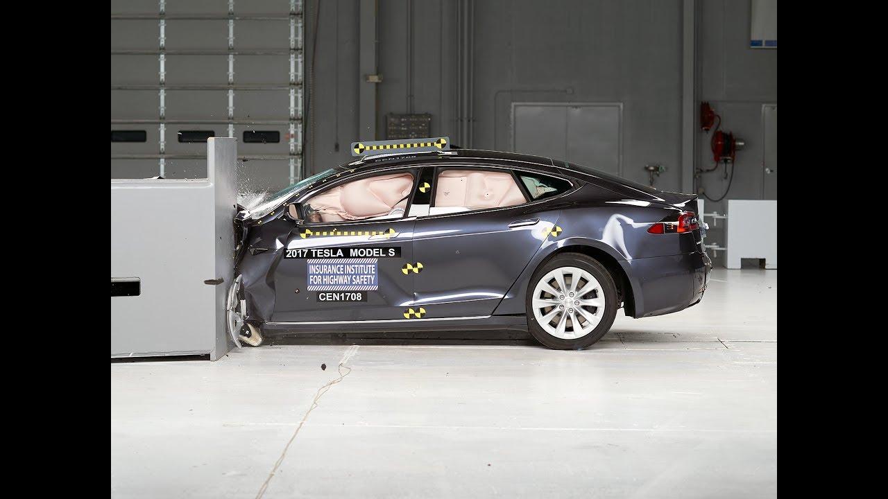 Tesla Model S 'in çarpışma testinde en üst düzey hedefi ve çarpışma Videosu.